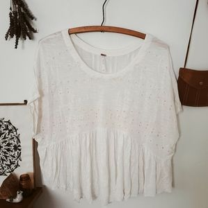 Free People Embroider Iolet Boxy Babydoll Boho Top